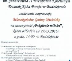 """29 maj 2016r.- niedziela – Dworek """"Róża Poraja"""" zaprasza"""